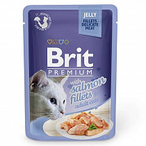 Brit Premium Пауч для кошек JELLY Salmon fillets Кусочки филе Лосося в желе 85гр от магазина